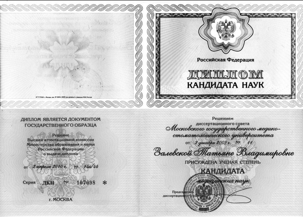 Диплом кандидата наук 2010 год